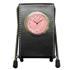 Pink Abstract Flowers Stationery Holder Clock