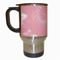 Pink Abstract Flowers Travel Mug (white)