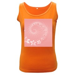 Pink Abstract Flowers Womens  Tank Top (dark Colored)