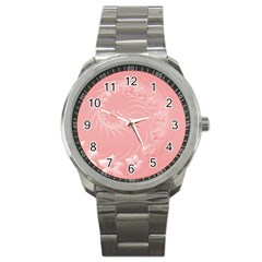 Pink Abstract Flowers Sport Metal Watch