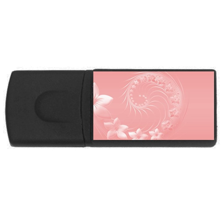 Pink Abstract Flowers 4GB USB Flash Drive (Rectangle)