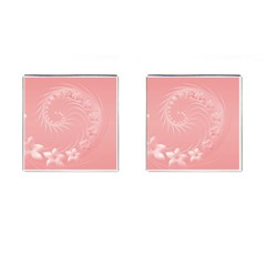 Pink Abstract Flowers Cufflinks (square)