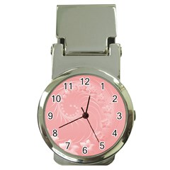 Pink Abstract Flowers Money Clip With Watch
