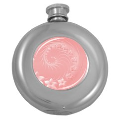 Pink Abstract Flowers Hip Flask (round)