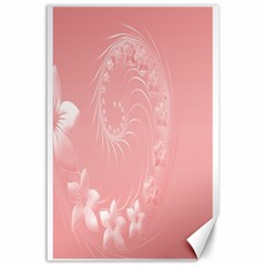 Pink Abstract Flowers Canvas 24  X 36  (unframed)