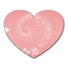 Pink Abstract Flowers Mouse Pad (Heart)