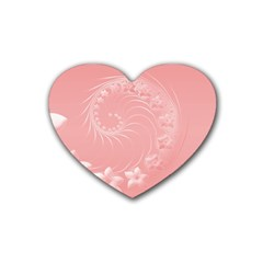 Pink Abstract Flowers Drink Coasters (Heart)