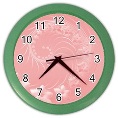 Pink Abstract Flowers Wall Clock (color)