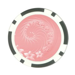 Pink Abstract Flowers Poker Chip