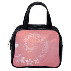 Pink Abstract Flowers Classic Handbag (One Side)