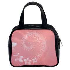 Pink Abstract Flowers Classic Handbag (Two Sides)