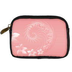 Pink Abstract Flowers Digital Camera Leather Case