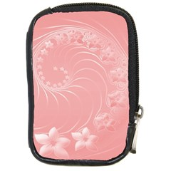 Pink Abstract Flowers Compact Camera Leather Case