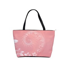 Pink Abstract Flowers Large Shoulder Bag