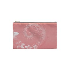 Pink Abstract Flowers Cosmetic Bag (small)