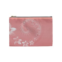 Pink Abstract Flowers Cosmetic Bag (Medium)