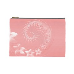 Pink Abstract Flowers Cosmetic Bag (Large)