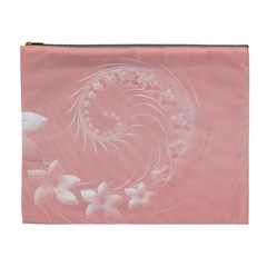 Pink Abstract Flowers Cosmetic Bag (XL)