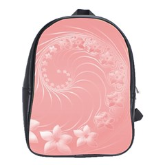 Pink Abstract Flowers School Bag (Large)