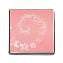 Pink Abstract Flowers Memory Card Reader With Storage (square)