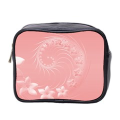 Pink Abstract Flowers Mini Travel Toiletry Bag (Two Sides)