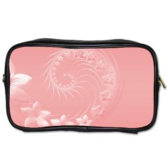 Pink Abstract Flowers Travel Toiletry Bag (One Side)