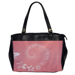 Pink Abstract Flowers Oversize Office Handbag (one Side)
