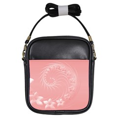Pink Abstract Flowers Girl s Sling Bag