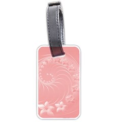 Pink Abstract Flowers Luggage Tag (Two Sides)