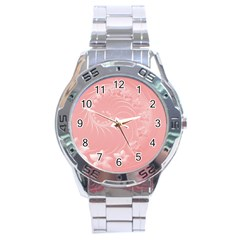 Pink Abstract Flowers Stainless Steel Watch (Men s)