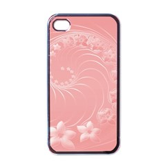 Pink Abstract Flowers Apple iPhone 4 Case (Black)