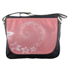 Pink Abstract Flowers Messenger Bag