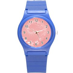 Pink Abstract Flowers Plastic Sport Watch (small)