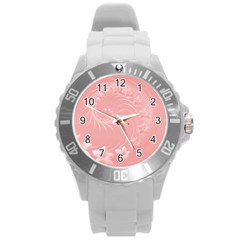 Pink Abstract Flowers Plastic Sport Watch (Large)