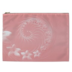 Pink Abstract Flowers Cosmetic Bag (xxl)