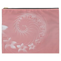 Pink Abstract Flowers Cosmetic Bag (XXXL)