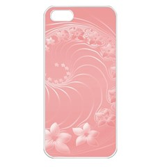 Pink Abstract Flowers Apple iPhone 5 Seamless Case (White)