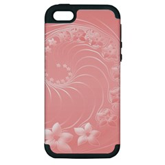 Pink Abstract Flowers Apple Iphone 5 Hardshell Case (pc+silicone)