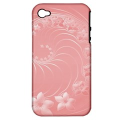 Pink Abstract Flowers Apple iPhone 4/4S Hardshell Case (PC+Silicone)