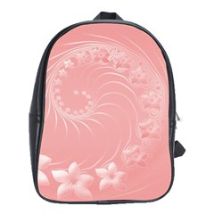 Pink Abstract Flowers School Bag (XL)