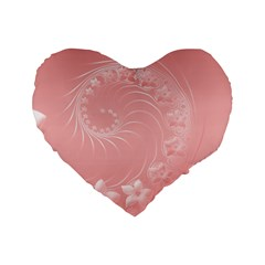 Pink Abstract Flowers 16  Premium Heart Shape Cushion