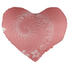 Pink Abstract Flowers 19  Premium Heart Shape Cushion