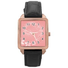 Pink Abstract Flowers Rose Gold Leather Watch