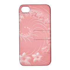 Pink Abstract Flowers Apple iPhone 4/4S Hardshell Case with Stand