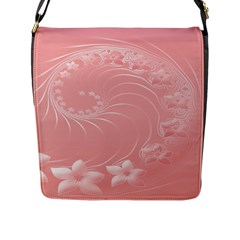 Pink Abstract Flowers Flap Closure Messenger Bag (Large)