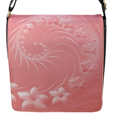 Pink Abstract Flowers Flap Closure Messenger Bag (small)