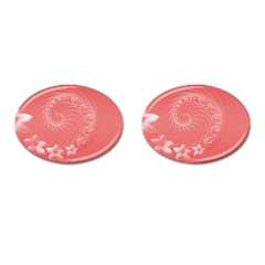 Light Red Abstract Flowers Cufflinks (Oval)