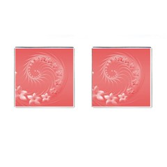 Light Red Abstract Flowers Cufflinks (Square)