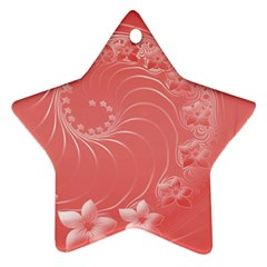Light Red Abstract Flowers Star Ornament (two Sides)