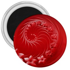 Red Abstract Flowers 3  Button Magnet